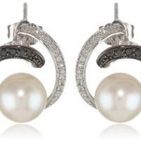 14k White Gold, Freshwater Cultured Pearl, and Black and White Diamond Earrings (.25 cttw, G-H Color, I1-I2 Clarity)