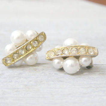 60s Pearl and Rhinstone golden Clip Earrings, Retro Cuff Earrings, Mid Century Mad Men Retro fashion Accessories, Evening Mod Jewelry