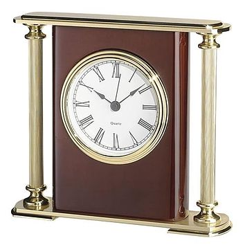 Personalized Free Engraving Cherry Wood Finish Desk Clock