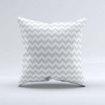 Gray & White Chevron Pattern Ink-Fuzed Decorative Throw Pillow