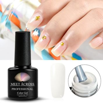 MEET ACROSS Opal Jelly Gel Polish 7ML White UV Soak Off Gel Enamel Nail Gel Varnish Lacquer Holographic Manicure Nail Art Polish