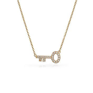 Sideways Key To My Heart Pendant Rose Gold Plated 925 Sterling Silver
