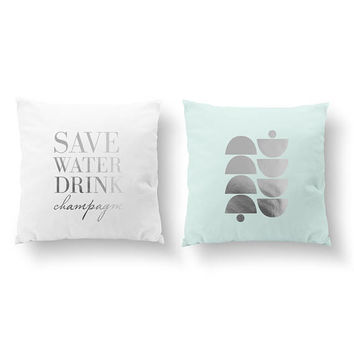 SET of 2 Pillows, Save Water Drink Champagne, Nursery Decor, Geometric Shape, Throw Pillow,Kids Pillow, Cushion Cover,Gold Decorative Pillow