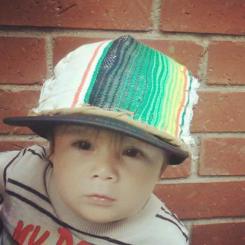 Hand Stitched Black Trucker Hat Mexican Blanket Rasta Adult Youth Infant by Roupoli