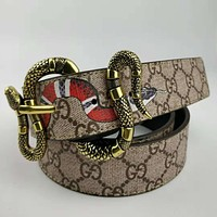 GUCCI New fashion snake buckle more letter pint and snake print leather couple personality belt Khaki