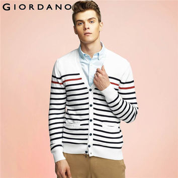 Men Sweaters Striped Long Sleeves V-neck Cardigan Button Pure Cotton Sweaters Rib Clothing Camisas