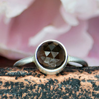 Smoky Quartz sterling silver round stacking bezel set ring - Size 5 or 6