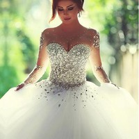 [319.99] Luxurious Tulle Jewel Neckline Ball Gown Wedding Dress With Rhinestones - Dressilyme.com