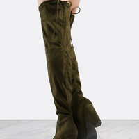 Tie Back Chunky Heel Suede Boots OLIVE | MakeMeChic.COM