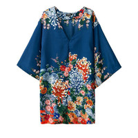 Blue Floral V-Neck Short Sleeve Kimono Shift Mini Dress