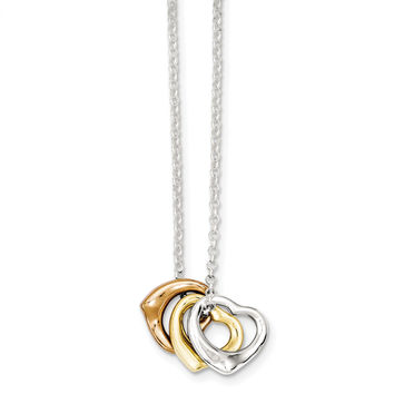 Sterling Silver Polished Three-tone Heart Necklace QH4970