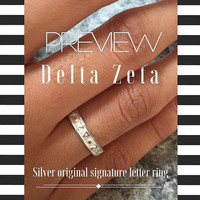 Delta Zeta Silver Original Signature Letter Ring, available in any Sorority