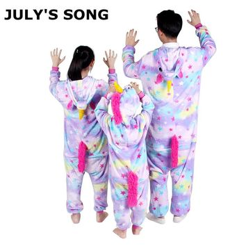 Pink Unicorn Flannel Pajamas Sets Cartoon Animal Parent-child Winter Pajamas Cosplay Zipper Women Men Winter Sleepwear Unisex