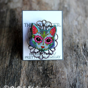 Day of the Dead Cat Adjustable Ring - 3 Variants to Choose From