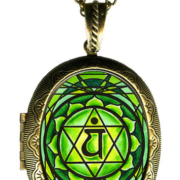 4th Chakra Anahata Heart Big Locket Pendant Empty or Solid Perfume