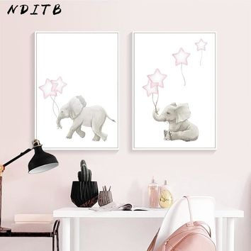 NDITB Lovely Elephant Baby Nursery Wall Art Canvas Painting Cartoon Animal Poster Print Decorative Pictures Kids Bedroom Decor