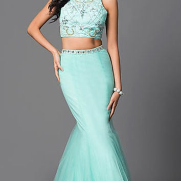 Affordable Long Two-Piece Mermaid Plus Prom Dress