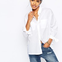 Abercrombie & Fitch Crisp High-Low Boyfriend Shirt
