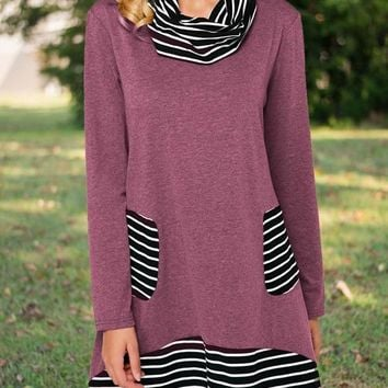 New Red Striped Pockets High Neck Long Sleeve Casual Countryside Mini Dress