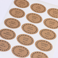 Place Cards, Rustic Wedding Stickers, Escort Cards or Placecard Labels, Seating Cards, Oval Brown Kraft Wedding Favor Tag - Set of 20