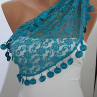 Lace Scarf- Shawl Headband Cowl with Lace Edge
