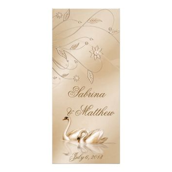 Elegant Golden Swans Formal Wedding Program Prayer