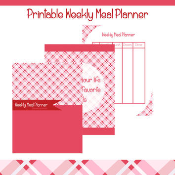 Printable Weekly Meal Planner Pink Plaid