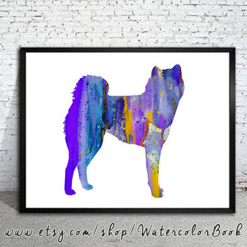 Akita Inu Watercolor Print, Akita Inu art, Home Decor, dog watercolor, watercolor painting, dog poster, dog art, Akita poster