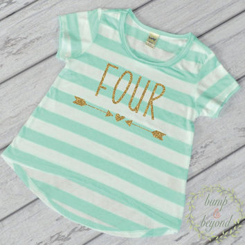 Girl Fourth Birthday Shirt 4 Year Old Birthday Shirt Girl Four Year Old Birthday Girl Outfit Toddler T-Shirt 4th Birthday Shirt Green 133