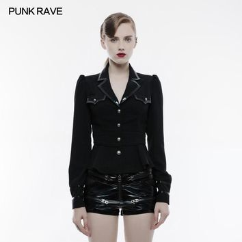 PUNK RAVE 2018 New Arrivals Women Shirt Punk Gothic Military Uniform Matching with Placket Whole Use Leather Long Sleeve Shirt