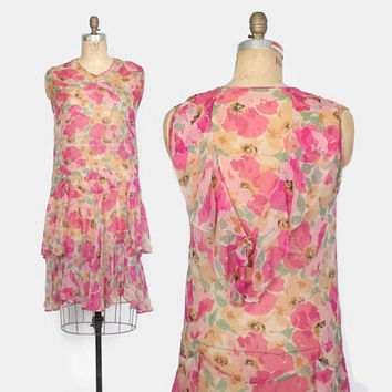 Vintage 20s Silk DRESS / 1920s Bright Pink Floral Crepe Day Dress M - L
