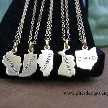State Necklace All States Available Michigan, Ohio,Illinois, Wisconsin, Indiana etc