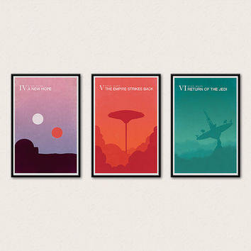 Star Wars Minimalist Poster Series - A New Hope, Empire Strikes Back, Return of the Jedi