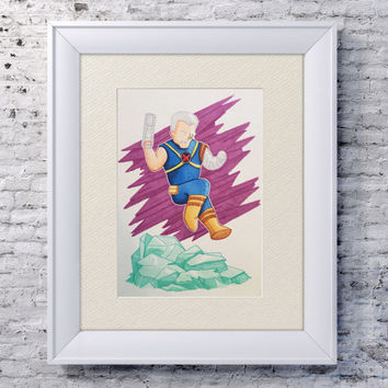 "5x7"" Superhero Cable Art, Superhero Marvel Wall Art, Marvel Cable, Copic Illustration, Kawaii Marvel, Comic Book Wall Art, Xmen Decor"