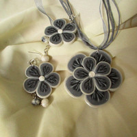 Silver grey flowers, black and white, shining jewelry set, Polymer clay, Handmade, Unique gift for woman, girl, best girlfriend