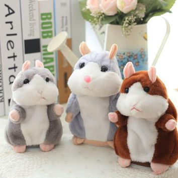 Lovely Talking Hamster Mouse Pet Plush Toy Electric Record Hamster Educational Stuffed Learn To Speak Toys mini doll