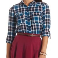 Long Sleeve Plaid Flannel Button-Up Top - Blue Combo