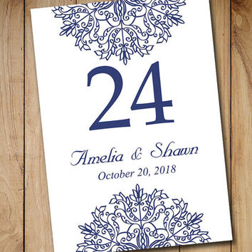 "Printable Wedding Table Number Template | Navy Blue ""Kaleidoscope"" Snowflake EDITABLE TEXT 5x7 Winter Wedding Table Number"