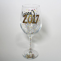 New Years 2017 Cheers Wine Glass with Confetti Decorations
