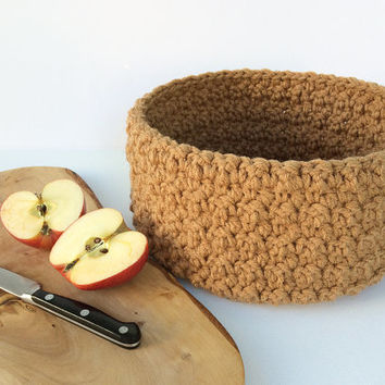 Fruit basket, crochet bowl, fruit bowl, decorative storage basket, large crochet basket, dining table decor, living room decor, tan bowl