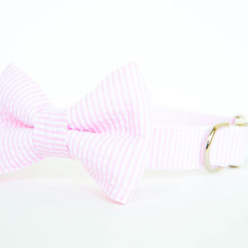 Bowtie Dog Collar - Pale Pink Seersucker Stripe
