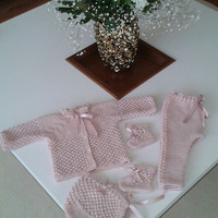 Hand knitted baby set/cardigan/tights/hat/booties/knitting/baby photo prop/baby set/hat and booties/Christening Bonnet/newborn/babyshower