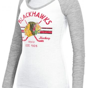 Women's Chicago Blackhawks L/S Stripe Stick T-Shirt, White-CCM