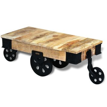 Coffee Table with Wheels Rough Mango Wood
