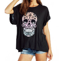 Women Suger Skull Candy Blouse Loose T Shirt Skull Crew Neck Tee