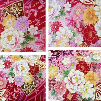 Kimono silk fabric, japanese silk pink floral, silk fabric panel, kawaii fabric, japanese fabric, silk screen fabric