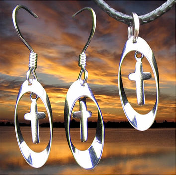 Silver Tiny Hoop Cross Earring and Necklace Set Small Drop Dangle Womans Girls Christian Jewelry - Saint Michaels Jewelry