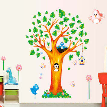 New lovely trees bird children room household adornment wall stick mobile stick on the wall SM6
