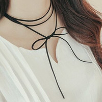 Black Wrap Choker Necklace
