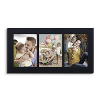 3 Opening Black Wood Wall Hanging Picture Photo Frame - 5x7